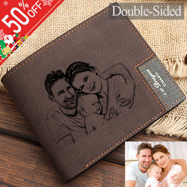 Personalized Double-Side Photo Men's Dark Brown Wallet