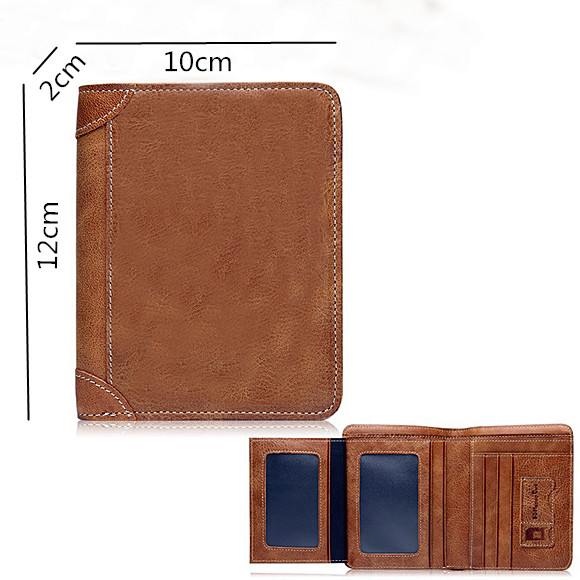 Photo Men's Leather Brown Vertical Wallet