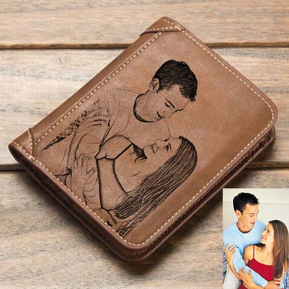 Personalized Photo Men's Leather Brown Vertical Wallet